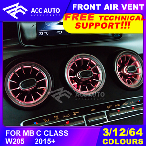 for Mercede W205 LED Front Air Vent Ambient Light C Class 2015+ 3/12/64 Colors Outlet Car Interior Front Console Air Condition