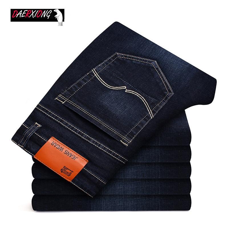 Men's Brand Stretch Jeans 2020 New Business Cotton Denim Trousers Slim Fit Jeans  Straight Denim Pants Male Plus Size28- 40