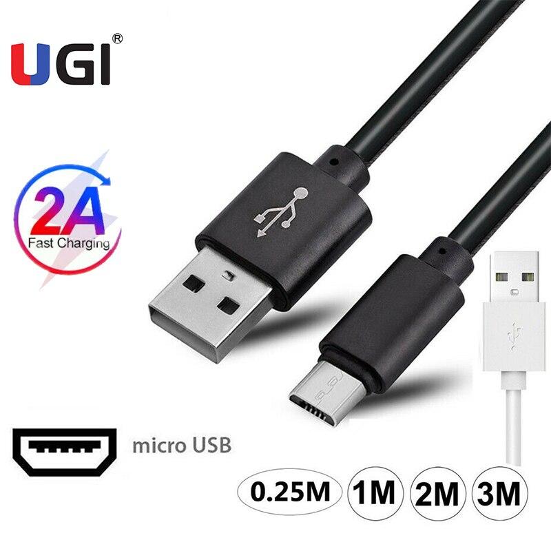 Ugi 2a carregamento rápido lote de cabo para samsung huawei xiaomi oneplus + cabo de transferência de sincronização de dados do telefone móvel 0.25m/1m/2m/3m pvc preto