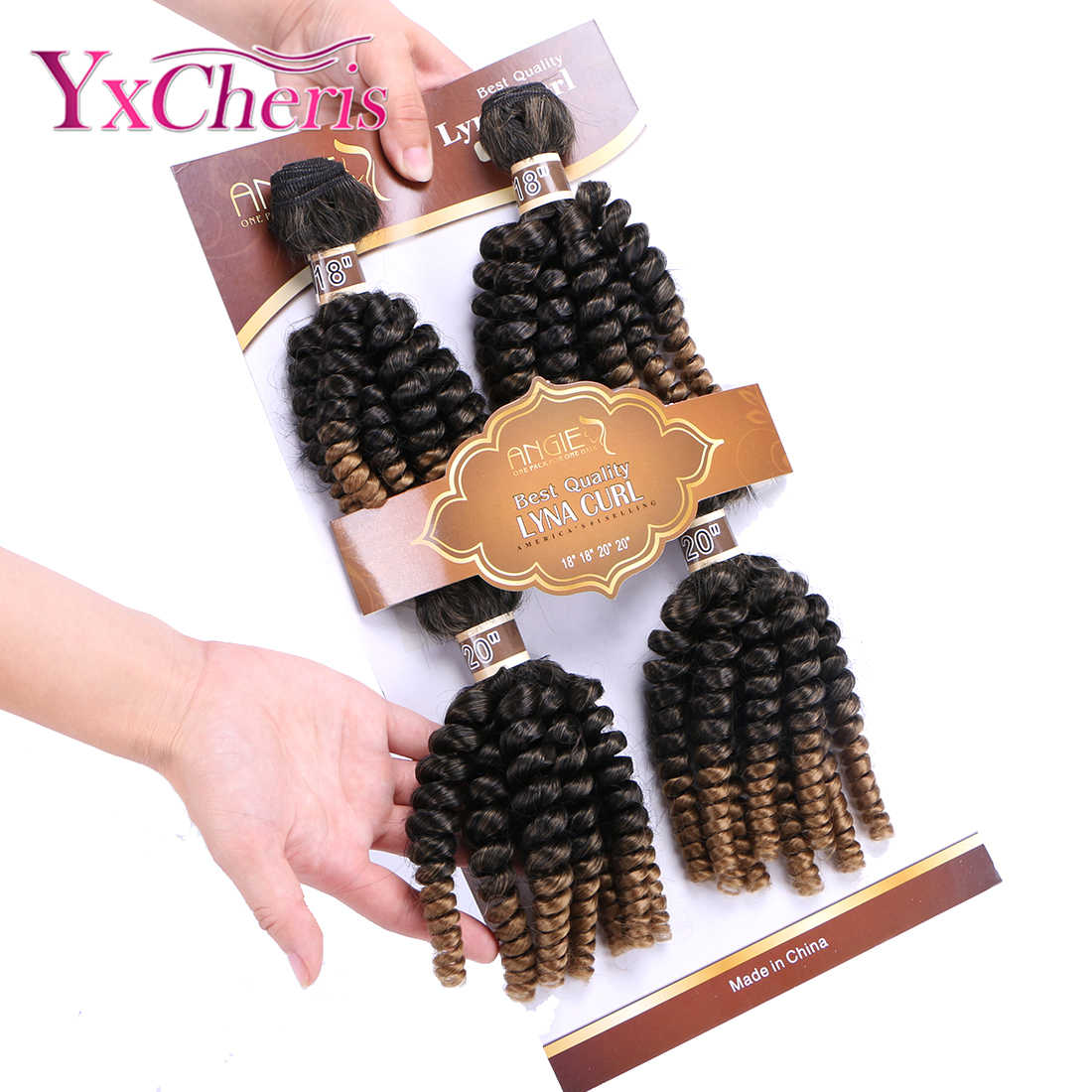 Bouncy Curly Hair 4 Bundles Synthetic Funmi Hair Weaves one pack hair ombre color Short Hair Weft