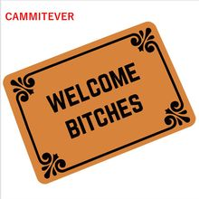 CAMMITEVER Villain Welcome B*tches Carpets Hallway Humor Rubber Income Door Pad Funny Carpet Pad 360g Mats Oh No Not You Again
