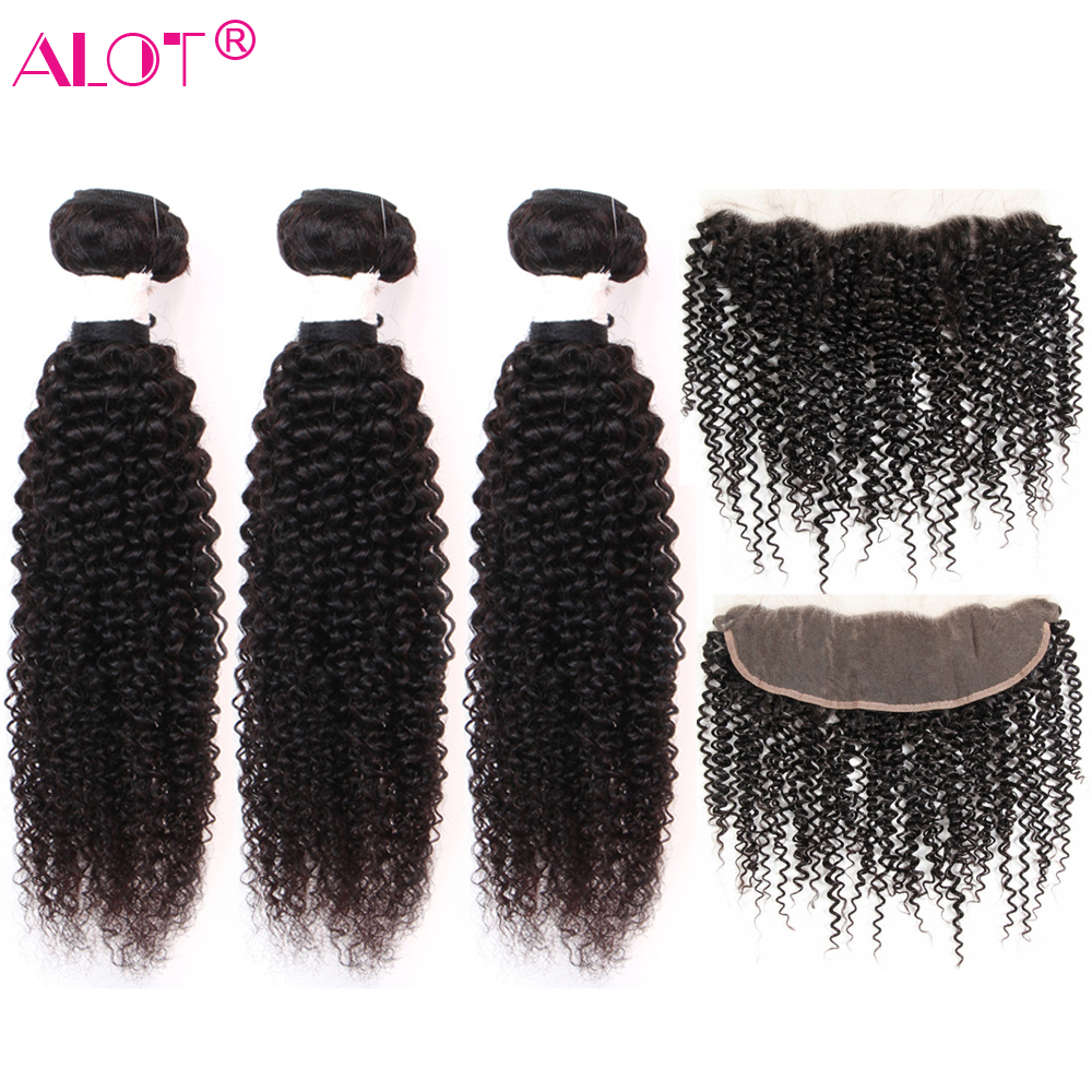 Alot Peruvian Kinky Curly Human Hair Bundles With Frontal Closure Non Remy Human Hair Weave Ear To Ear Lace Frontal With Bundles
