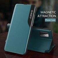 Funda de cuero con tapa para Samsung A32, Funda de cuero con ventana de visión inteligente para Samsung Galaxy A32 A 32 2021 4G, soporte magnético para libro