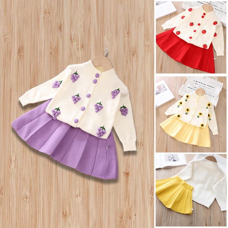 Детская одежда, милый комплект с цветочным узором для девочек, вязаный кардиган, свитер и юбка комплект из двух предметов для девочек, с клуб...