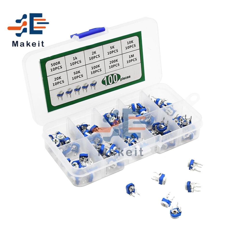 100 pièces/lot 10 valeurs RM065 potentiomètre de coupe multitours 500R 1K 2K 5K 10K 20K 50K 100K 200K 1M Ohm Kits de résistance Variable