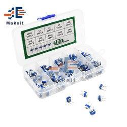 Potenciómetro multigiro RM065 de 10 valores, 100 unids/lote, 500R, 1K, 2K, 5K, 10K, 20K, 50K, 100K, 200K, 1M, Ohm, Kits de resistencia Variable