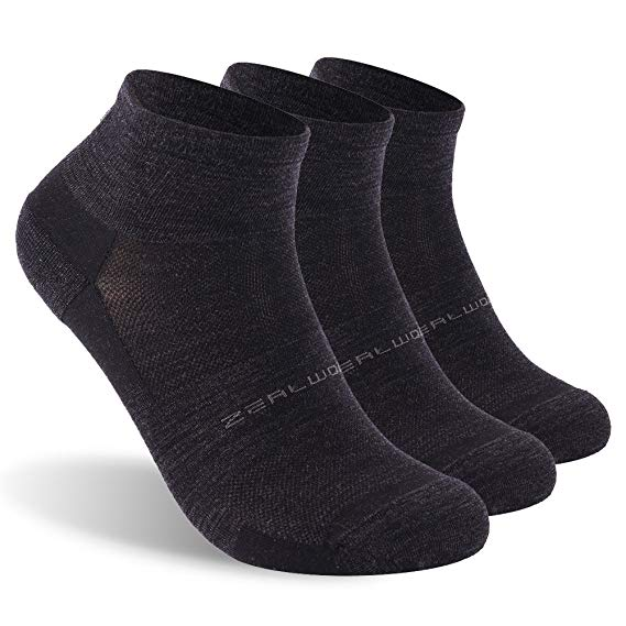 3 Pairs Athletic Running Socks, ZEALWOOD Unisex Merino Wool Anti-blister Cushion Hiking Socks
