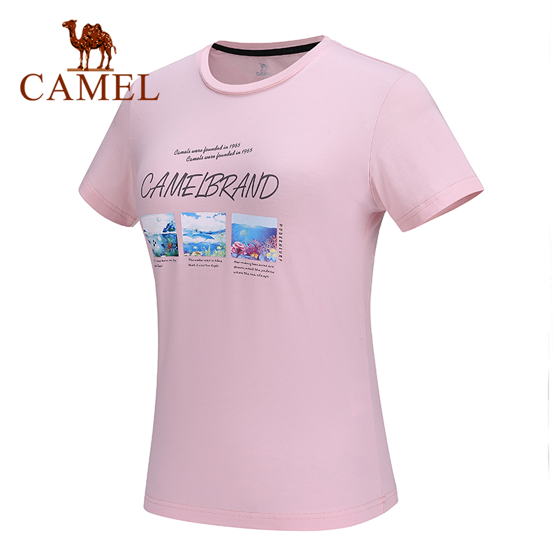 CAMEL Outdoor Casual Cotton T-shirt Women Summer O-neck Deep Sea Printing Short-sleeved Sweat Breathable Hiking Shirt Female Top