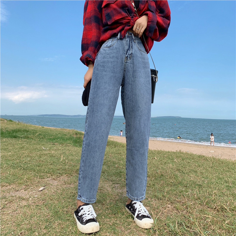 S-XL autumn korean style High Waist jeans Lady Casual straight denim blue jeans womens mom jeans womans (Z8723)