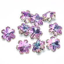 10 PCs Glass AB Rainbow Color Aurora Borealis Charms Pendant 40 Styles For Jewelry Making 14/17/18/20mm Heart Purple & Blue