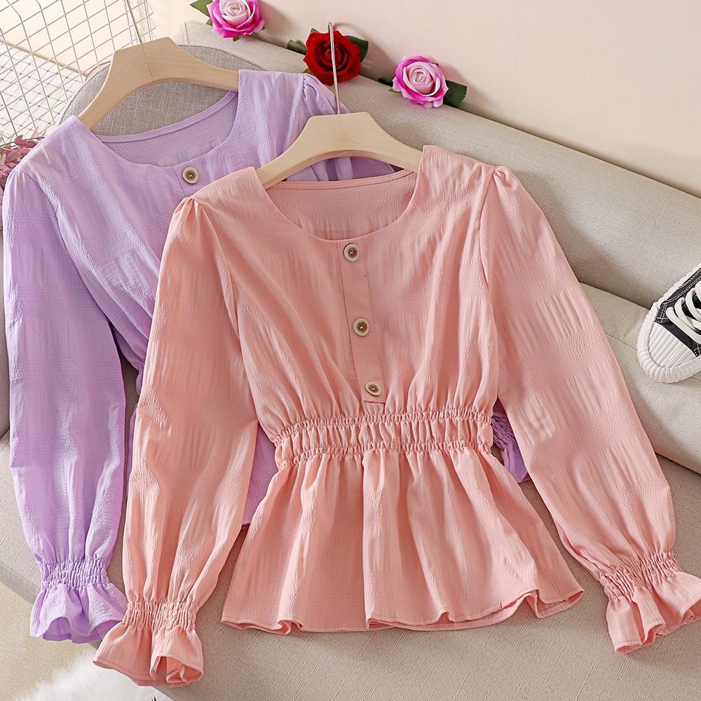 Блузка Для женщин осень оборками рубашка с длинными рукавами со складками топ с расклешенными рукавами Blusas Ropa De Mujer; Большие размеры