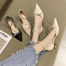 Wedding Shoes Luxury Sandals Summer Heels Buckle 2021 Women's Suit Female Beige Comfort Fashion Pearl Girls Low Closed Pointed H