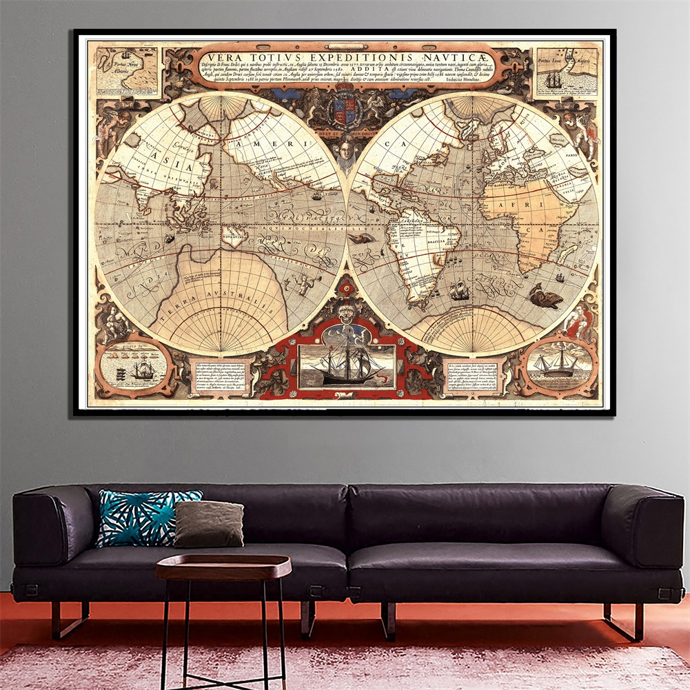 60x90cm Creative Vintage World Latin Map Home Office Wall Decor Map HD Canvas Spray Painting