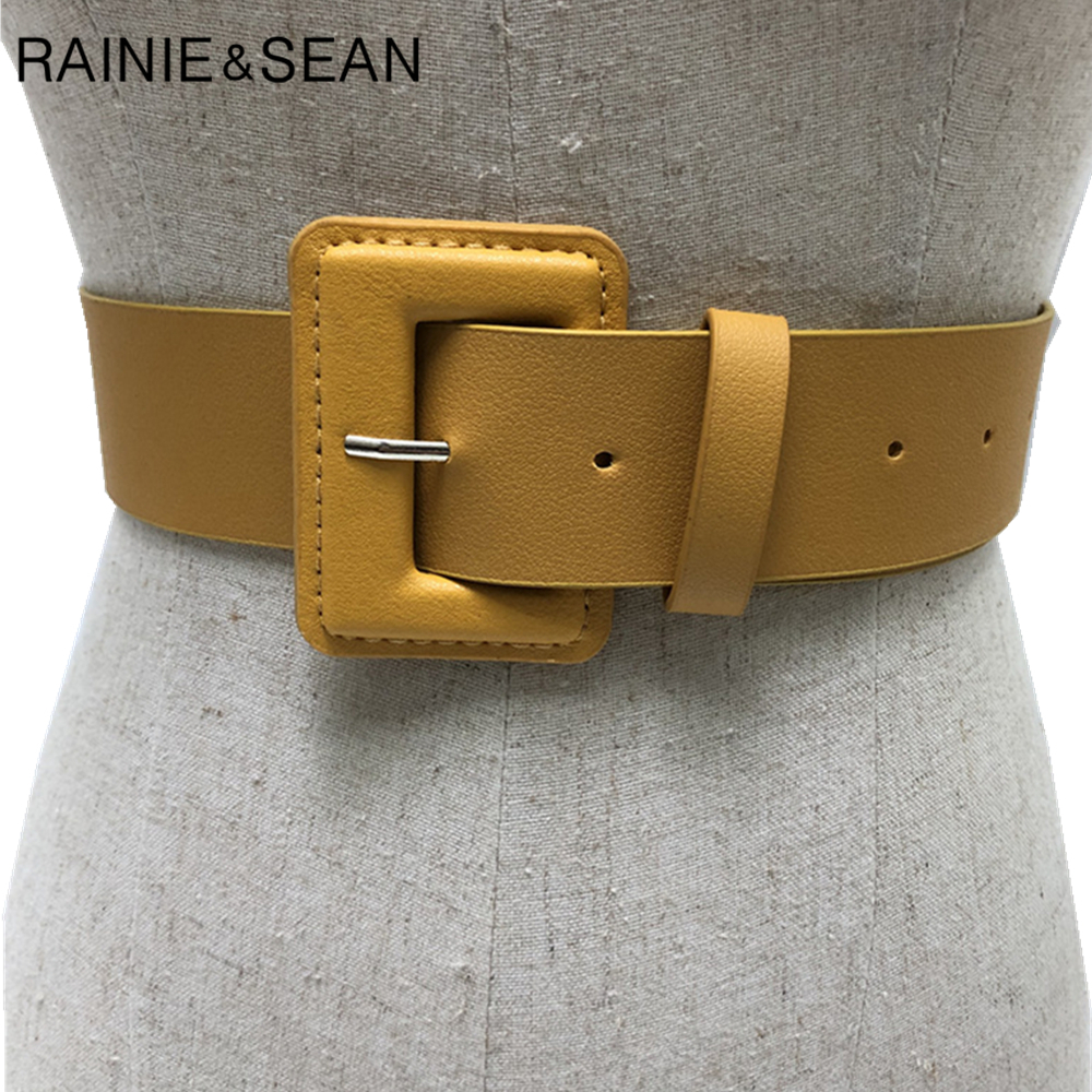 RAINIE SEAN Yellow Belt Womens Pu Leather Belts Casual Solid Green Red Pink Purple Black High Quality Ladies Waist Belt