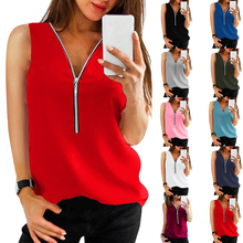 2020 Summer Sleeveless Blouses Women Clothing Vest Solid Color V-Neck Shirts Loose Chiffon Zipper Blusas Mujer Women Tops