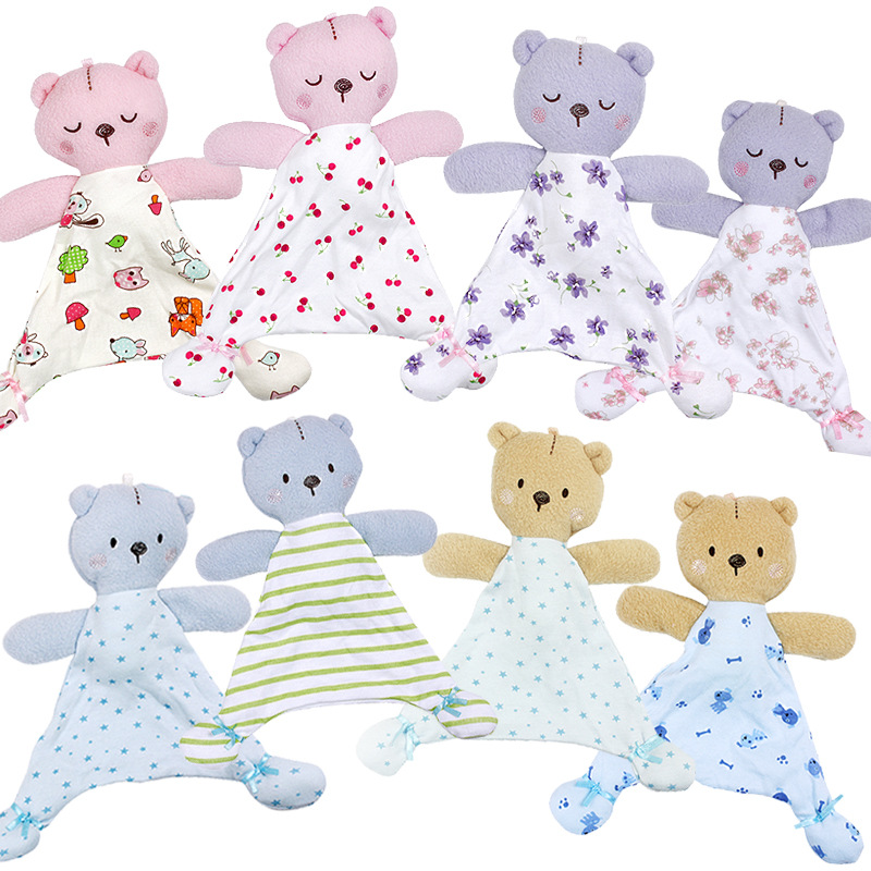 0-12 месяцев мягкая коляска животное медведь мультфильм для Куклы новорожденных игрушки Дети успокаивающее милое полотенце