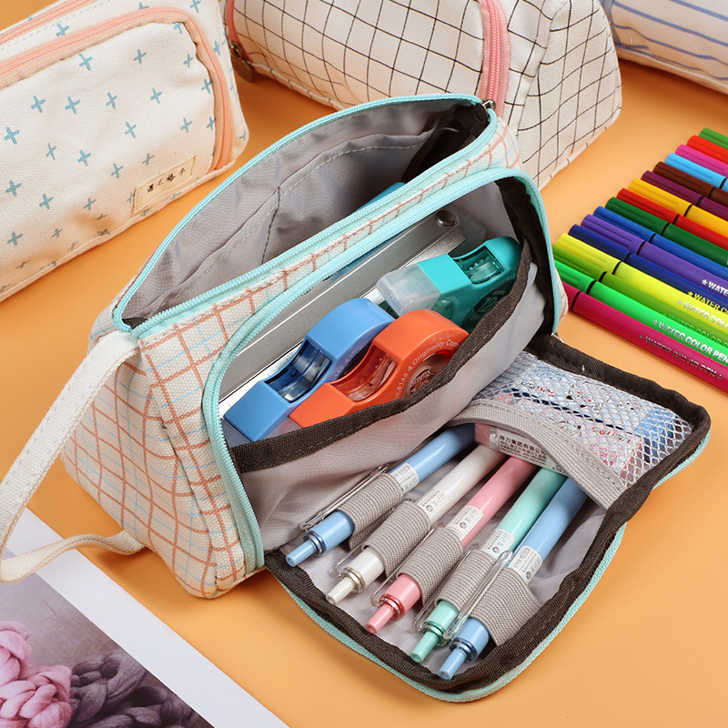 Colorful Large Capacity Pencil Cases Pencil Case Big Capacity Color Linen Storage Pouch Stationery Bag Holder For Office Student
