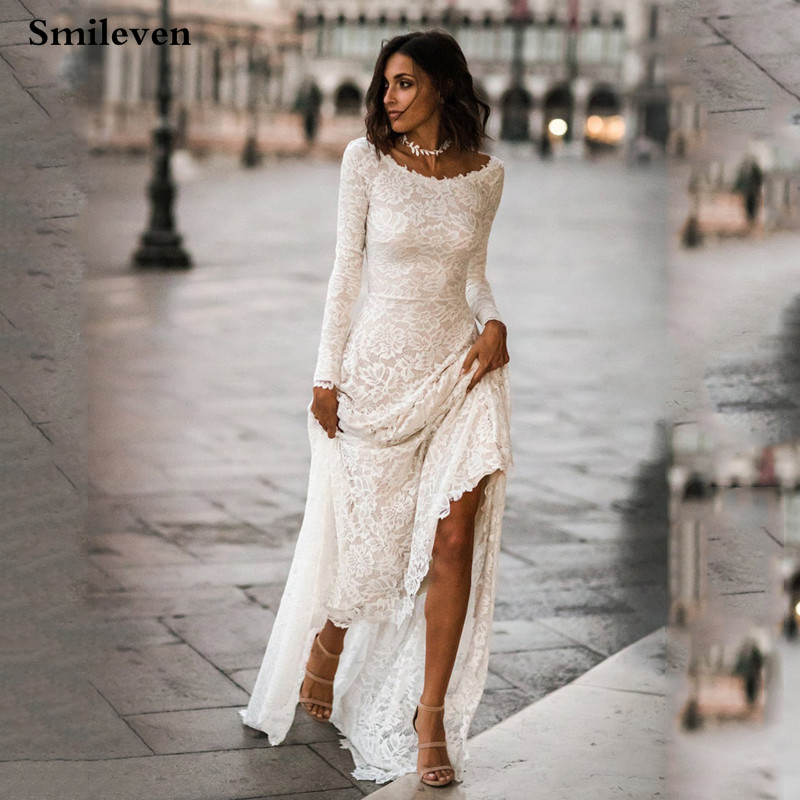 Smileven Mermaid Wedding Dresses 2020 Long Sleeve Lace Wedding Gowns Backless Bride Dress Vestido De Noiva Boho Style