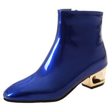 Patent leather booties female large size womens boots low-heeled square head high-heeled