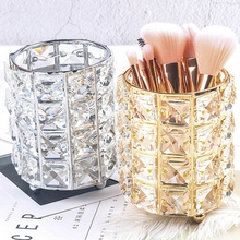 Gold Crystal Makeup Brush Storage Tube Cosmetic Box Eyebrow Pencil Organier Bead Jewelry