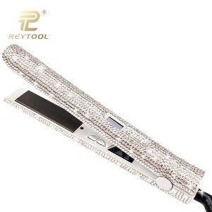 Image 3 - Profissional display lcd de cabelo plana ferro titânio placa flutuante diamante alisador cabelo cristal strass ferramentas estilo do cabelo