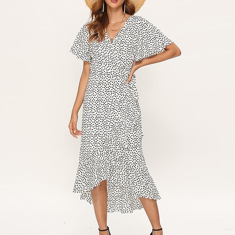 Summer Beach Maxi Dress Women Floral Print Boho Long Chiffon Dress 5