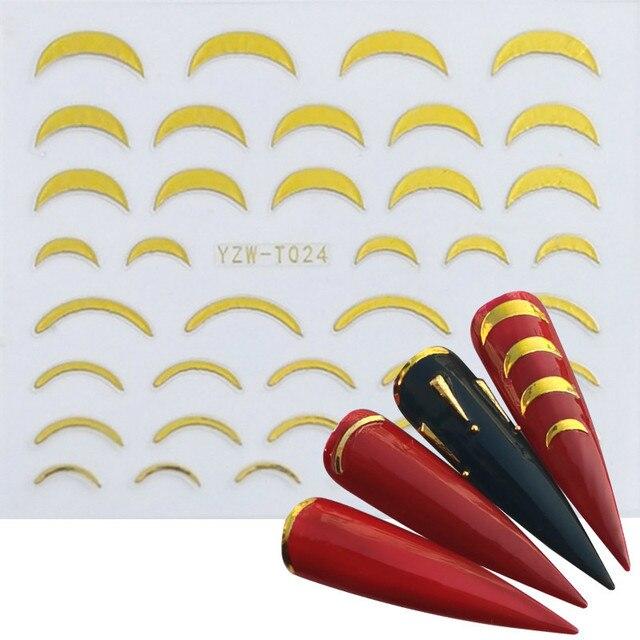 Купить morixi золотая наклейка для дизайна ногтей волнистые вкладыши картинки цена