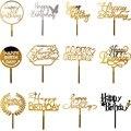 INS Happy топперы для торта на день рождения: золотистые акриловые топперы для торта на день рождения Декор для маленьких День рождения торт укр...