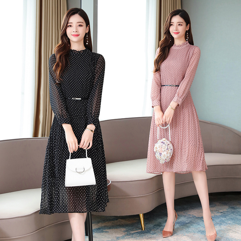 Photo Shoot Polka Dot Chiffon Dress Women's Long-Sleeve 2019 Spring And Autumn Mid-length Elegant French Pleated High-waisted Wi