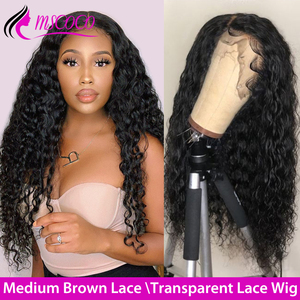 Mscoco HD Lace Wig Water Wave Lace Front Human Hair Wigs Wet And Wavy Wig Remy 360 Lace Frontal Wig Transparent Lace Wigs(China)