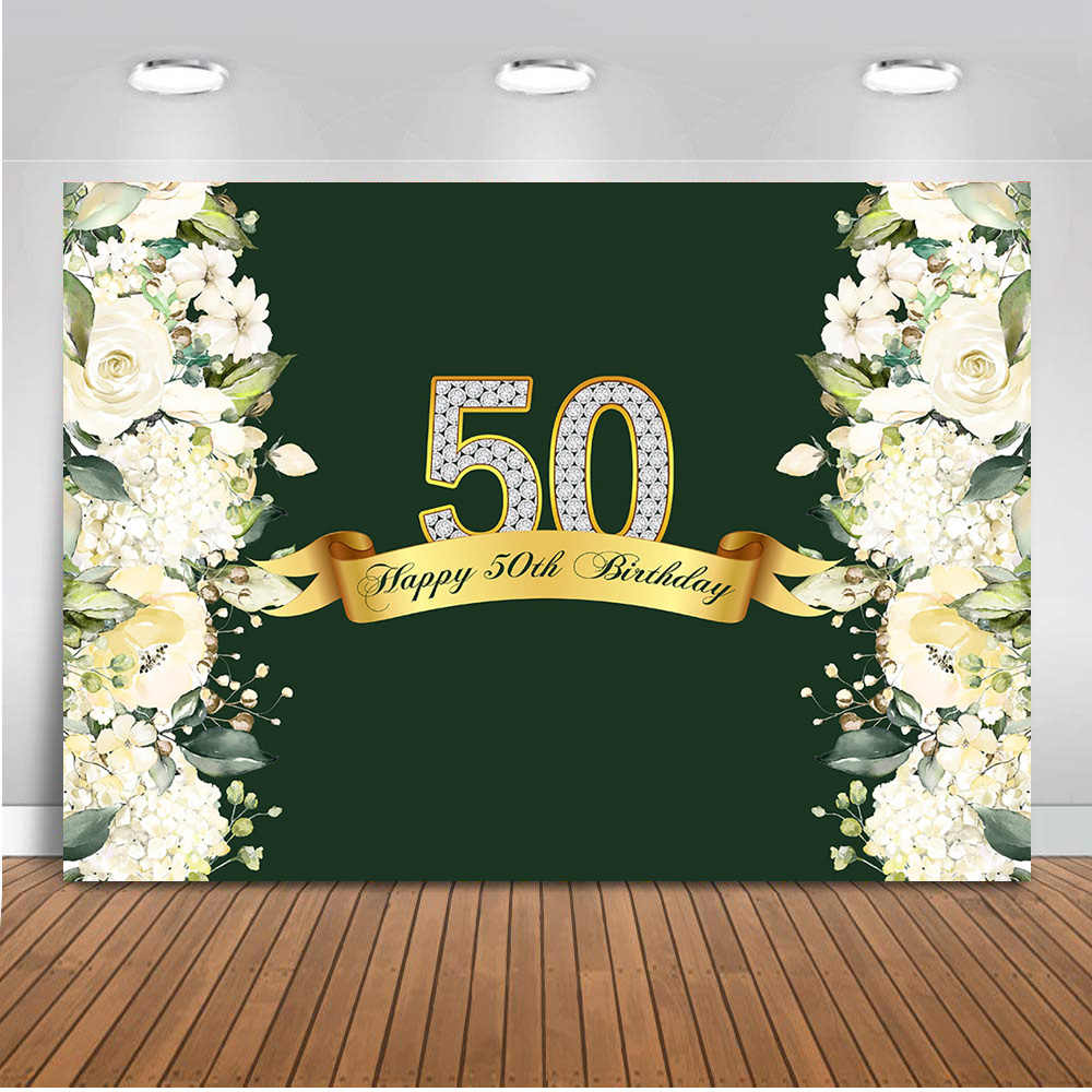 Neoback fotografía Fondo feliz 50 cumpleaños primavera flor pared boda fiesta decoración fondo para foto estudio 414
