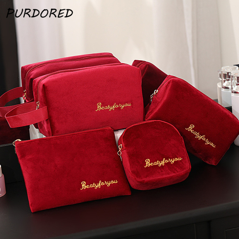 PURDORED 1 Pc Solid Color Cosmetic Bag Soft Velvet Women Make Up Bag Travel Makeup Storage Organizer Toiletry Wash Bag Neceser