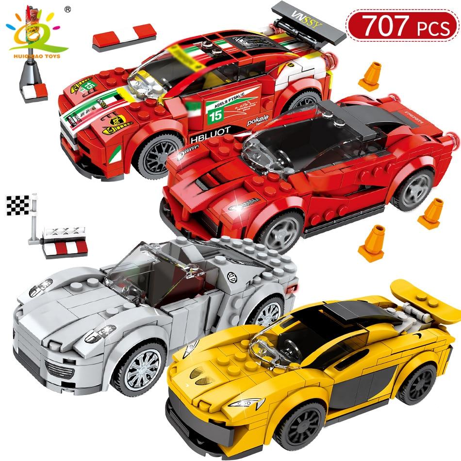 707PCS 4 Racing Car Speed Champions DIY Building Blocks Legoing Technic City Racer Figures Sport Cars Bricks Toys Kids Children