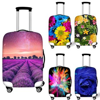 Zagęścić osłona bagażu dla 18-32 Cal walizki na kółkach 3D kwiat lawendy elastyczna walizki torba bagażu pyłu osłony przeciwdeszczowe tanie i dobre opinie FORUDESIGNS Poliester 80cm 200g 97 Polyester+3 Spandex Klapy Bagażnika Akcesoria podróżnicze 33cm 54cm Patchwork Protective dust cover