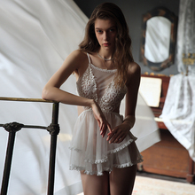 Sexy Princess Nightgown Female Lace Net Gauze Backless Luxury Dress Lingerie Intimates Sleepwear Underwear Babydoll