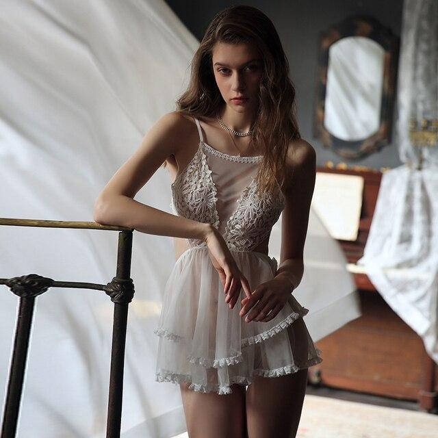 섹시한 공주 잠옷 여성 레이스 그물 거즈 backless 럭셔리 드레스 란제리 intimates 잠옷 속옷 babydoll