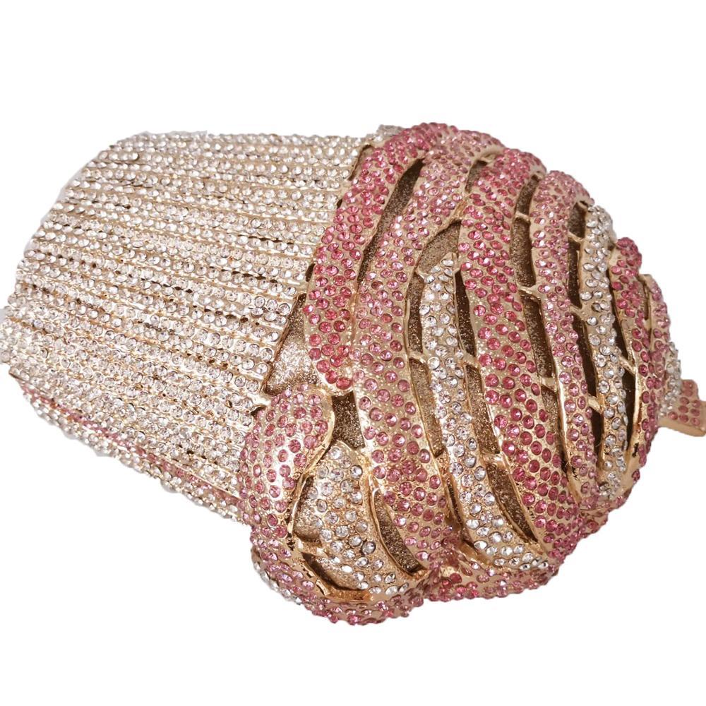 Image 5 - Boutique De FGG Ice cream Pink Women Crystal Evening Bags  Minaudiere Clutch Wedding Party Handbags Bridal Diamond BagTop-Handle  Bags