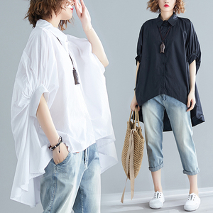 #2844 Длинные асимметричные блузы женская рубашка на пуговицах спереди 2020 летняя черная белая блузка размера плюс для женщин свободный ворот...