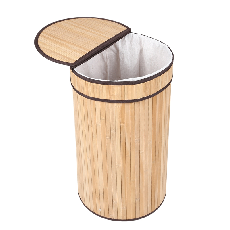 Bamboo Weaving Laundry Hamper Bamboo Laundry Basket with Lid Dirty Clothes Storage Baskets Foldable Laundry Baskets     - title=