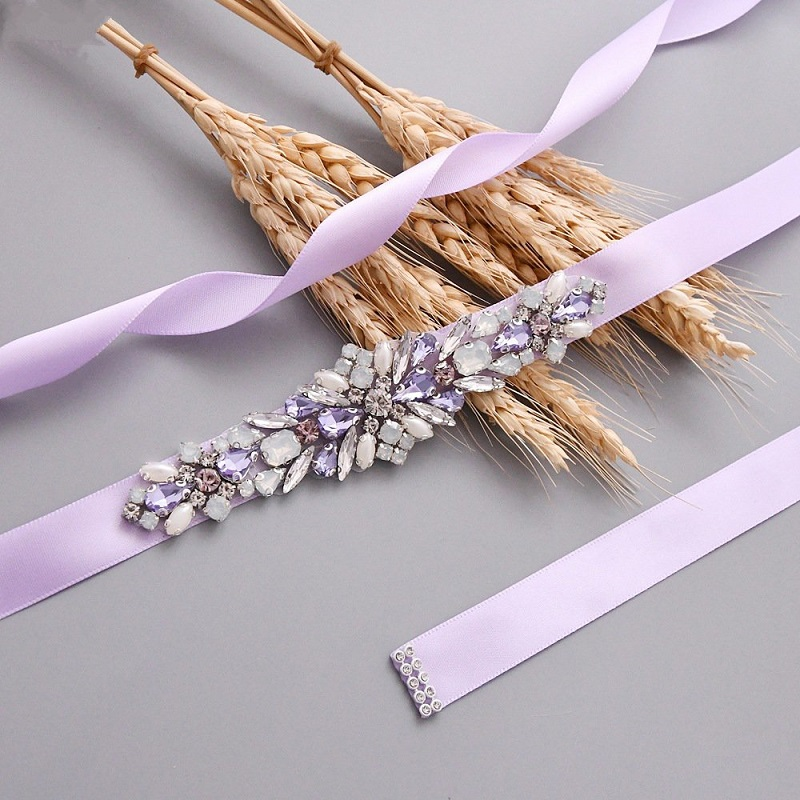 Lilac Handmade Rhinestone Bridal Jeweled Belt Wedding Sash Belt Crystal Beaded Applique Accessories Cinturones Pedreria B38