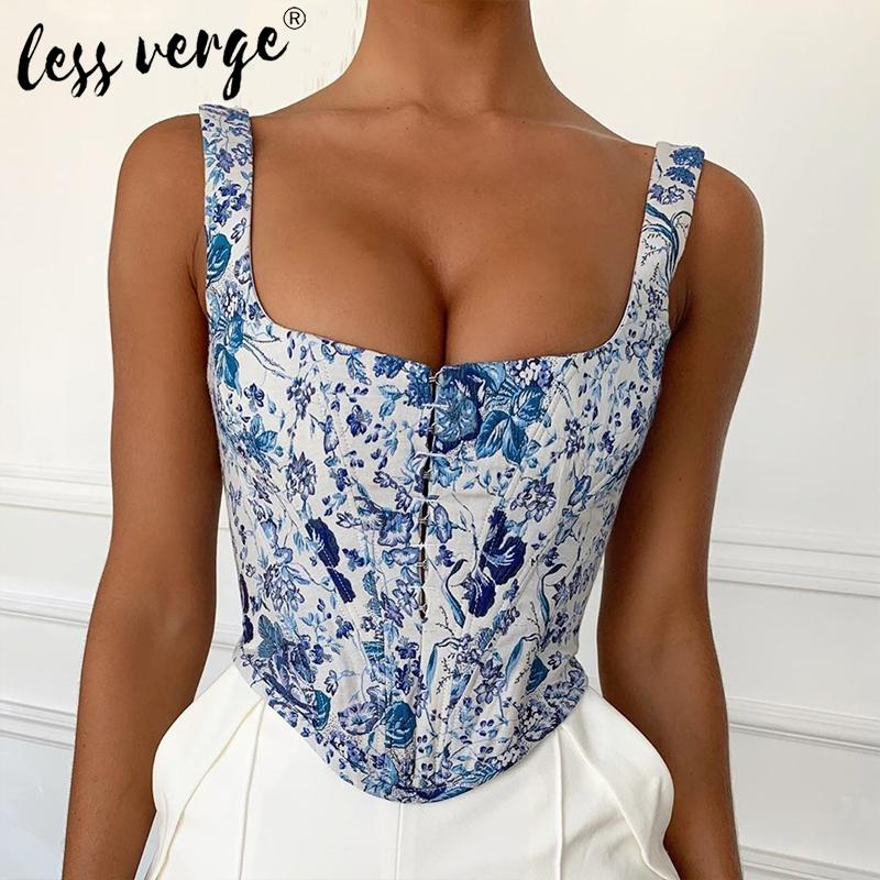 Blue Foral Print Basic Women Crop Top Sexy Bustier Corset Fitness Boho Tank Top Cami Backless Short Summer Party Camisole Vest