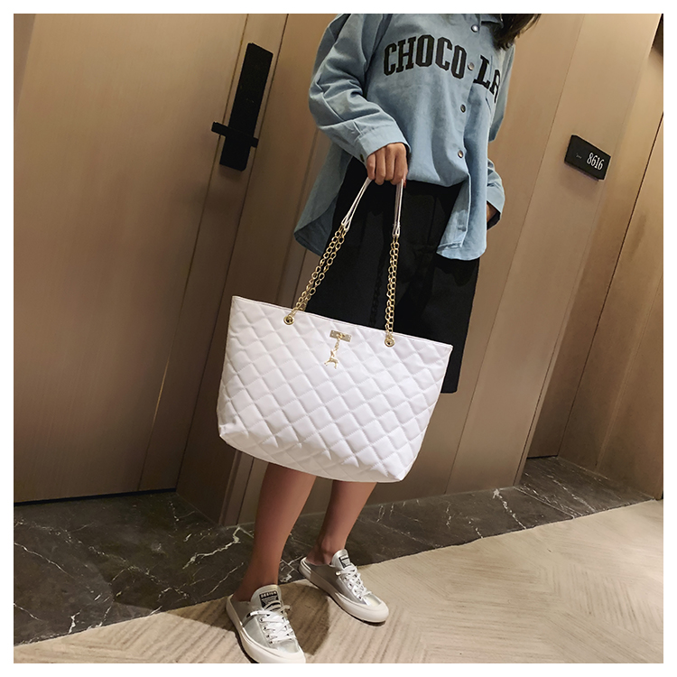 Women's bag,2020, new-style embroidery line, large-bag, inclined-bag, thick, single-shoulder bag.