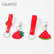 Heart PU Leather Key Chain Acrylic Fruit Pendant Wide leather Cord Key Chains Holder Car Keyrings Men Women Keychains цена 2017