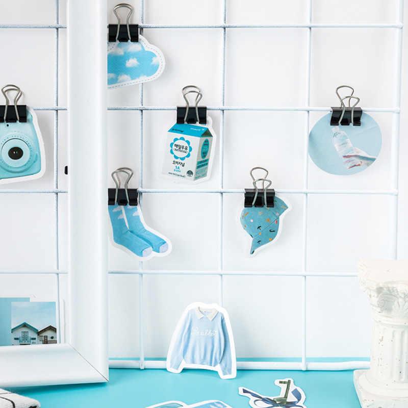 40 ピース/ロットかわいいブルーガール壁ステッカー冷蔵庫黒ステッカー蝶パターン家の装飾台所の壁アート壁画