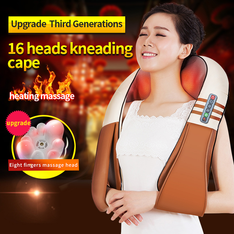 JinKaiRui U Shape Electrical Shiatsu Back Neck Shoulder Body Massager Infrared Heated Kneading Car/Home Massagem(China)
