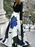 Женский богемный с длинными рукавами с v-образным вырезом модное цветочное длинное шифоновое платье Макси вечернее длинное платье