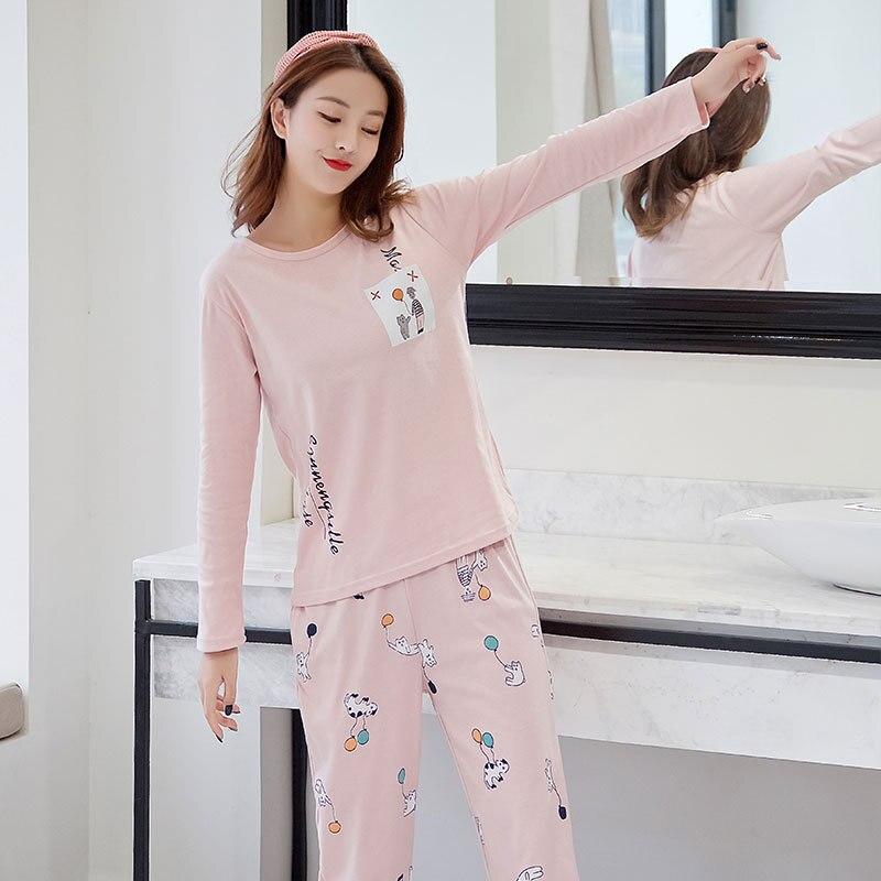 Women Pajamas Set pajamas for women New Thin Cartoon pijamas Printed pijama Women Long Sleeve Cute Sleepwear Casual 4