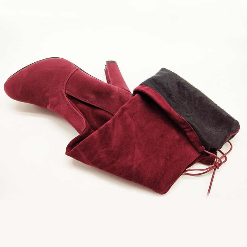 Giả Da Lộn Mỏng Trên đầu gối Giày Mùa Đông Nữ Giày Gợi Cảm Đùi Cao Cấp Giày Cao Gót Nữ Cao Cấp Người Phụ Nữ Plus kích thước 43 WSH3443