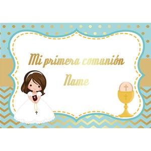 Image 3 - Allenjoy primeiro santo comunhão pano de fundo menino menina pontos listras festa fundo banner photocall fotografia decoração vinil