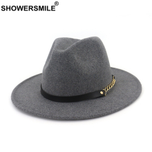 SHOWERSMILE Wool Felt Fedora Women Men Classic Trilby Hat with Chain Solid Gray Camel Autumn Winter Male Female Pork Pie Hat